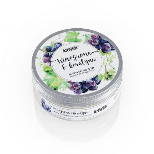 Anwen Maska do włosów średnioporowatych Winogrona i Keratyna 200 ml